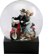 Ebros Gift Day Of The Dead Skeleton Lovers On Red Bike Glitter Water Globe DOD Love Never Dies Couple Collectible Figurine 11cm Tall