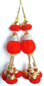 Beaded Blouse Latkans Red Decorative Keychain Tassels Supply Crafting 1 Pair