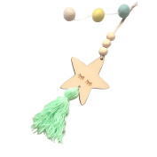 Acamifashion Nordic Style Wooden Star Tassel Wall Hanging Ornament Photography Room Decor -