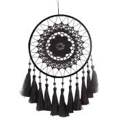 BUYITNOW Large Crochet Dreamcatcher with Long Tassel Black Wall Car Hanging Dream Catcher 35cm Long