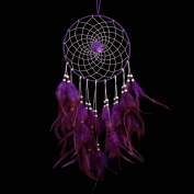 BUYITNOW Purple Feather Dreamcatcher with Beads Rose Flower 45cm Long Car Wall Hanging Ornament