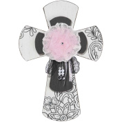 Pink Tulle and Lace Black and White 11.5 x 16.5 Wall Cross Decoration