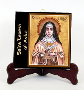 Santa Teresa de Avila Doctora de la Iglesia Universal Porcelain Tile or Altar (6 x 6) Incluye Postal de Rezo