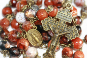 Large Antique Agate and Bronze 10mm 5 Decade Natural Stone Bead Rosary Made in Oklahoma with Pardon Crucifix