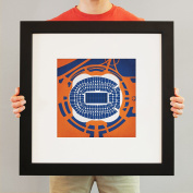 Sports Authority Field at Mile High Map Art, 60cm Frame + Mat