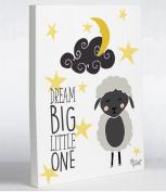 One Bella Casa 74246WD11 28cm x 36cm . Dream Big Little One Canvas Wall Decor by Pen & Paint44; Yellow & Grey