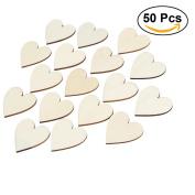 ULTNICE Wooden Hearts Wedding Table Scatter Decor Crafts DIY Tool 50pcs