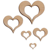 Freedi Wooden Confetti Love Heart 5Pack Wedding Table Rustic Scatters DIY Crafts Party Decor
