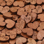 Yalulu 100Pcs Rustic Wooden Love Heart Wood Slices Wedding Table Scatter Decoration Crafts DIY Confetti