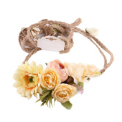 Cywulin Women 1PC Weave Long Handmade Flower Hairband Crown Wedding Wreath Seaside Bridal Headdress