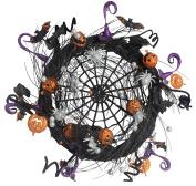 50cm Sparkled Spider Web Halloween Wreath - Black, Orange, Silver and Purple