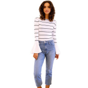 Pengy Women Autumn Striped Long Flare Sleeve O Neck Tops Blouse