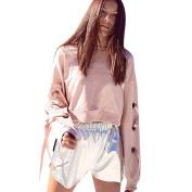 Pengy Women Pink Bandage Long Sleeve Loose Short Sweatshirt Tops Blouse