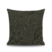 Woaills Square 46cm Phoenix Feather Pattern Throw Pillow Case,Sofa Home Decor Cushion Cover With Hidden Zipper