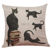 Cute Cat Sofa Bed Home Decoration Festival Pillow Case Cushion Cover With Hidden Zipper 43cm x 43cm / Woaills