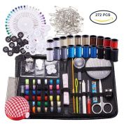 BENECREA Sewing & Knitting Tools Kits, 272pcs Sewing Supplies with Buttons & Pins & Scissors & Pencil & Sewing Threads & Knitting Neddles & Crochet Hooks & Cloth Needle Cushion