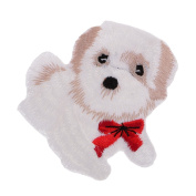 MagiDeal Cute White Dog Patch Iron on Embroidered Animal Patch Sew on Applique for Jeans Bag