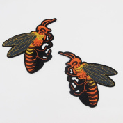 2Pcs/Set DIY Bees Patches for Clothing Iron Embroidered Patch Applique Iron on Patches Sewing Accessories Badge Stickers on Clothes Bags