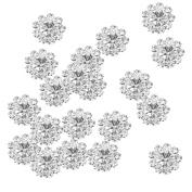 MagiDeal 20 x Clear Crystal Floral Button Flatback Decor DIY Craft Embellishment 12mm