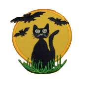 Black Cat with Bats and Full Moon Halloween Applique Patch