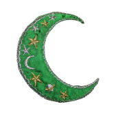 Green Crescent Moon with Stars Applique Patch
