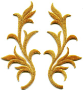5.1cm x 11cm Gold trim fringe leaves glitter retro boho embroidered appliques iron-on patches pair new