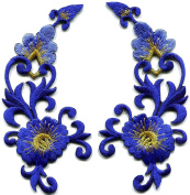 5.1cm x 11cm Royal blue trim fringe flower boho art deco embroidered appliques iron-on patches pair new