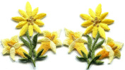 5.1cm x 5.1cm .Yellow Lilies pair flowers floral bouquet boho retro embroidered appliques iron-on patches