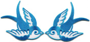 4.8cm x 5.7cm . Lot of 2 Bird Tattoo Swallow Dove Sparrow Biker Appliques Iron-on Patches Blue C