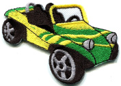 4.7cm x 7cm . Dune buggy off road car baja retro racing embroidered applique iron-on patch new
