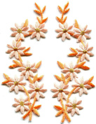 4.4cm x 11cm .Peach flowers pair floral boho granny chic golden embroidered appliques iron-on patches new