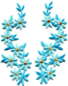 4.4cm x 11cm Baby blue flowers pair floral boho granny chic golden embroidered appliques iron-on patches new