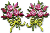 4.1cm x 5.4cm .Pink roses pair flowers floral bouquet boho retro embroidered appliques iron-on patches