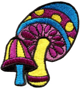 3.5cm x 6cm .Mushroom boho hippie retro love peace weed trance embroidered applique iron-on patch