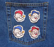 All 4 Patches Included Classic Cartoon Novelty Patch POPEYE the SAILOR I Am What I Am 4 MINI Patch Set