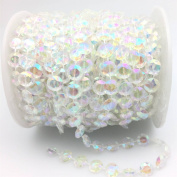 FQTANJU 30m Clear Crystal Like Beads by the roll Wedding/Party/Birthday Decorations
