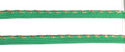 Metalic Gold / Emerled Green Cord-edge Spiral Piping ,Trim , Lip Cord for Clothing Pillows, Lamps, Draperies 5 Yards Pi-173