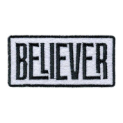Believer Black and White Black and White 4 x 5 Fabric Iron On Embroidery Patch