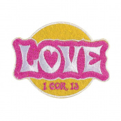 Love 1 Corinthians 13 Pink and Yellow and Pink 4 x 4.5 Felt Iron On Embroidery Patch