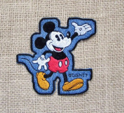 Vintage Disney Mickey Mouse Denim Patch Greetings Folks Novelty Sew On Iron On Patch
