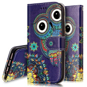 iPhone 5S Case,iPhone 5S / SE Wallet Case, PHEZEN Aztec Owl Design Pu Leather Wallet Case with Card Slots Stand Book Style Folio Flip Cover For iPhone 5 5S SE, Owl