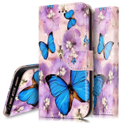 iPhone 5S Case,iPhone 5S / SE Wallet Case, PHEZEN Blue Butterfly Design Pu Leather Wallet Case with Card Slots Stand Book Style Folio Flip Cover For iPhone 5 5S SE, Butterfly