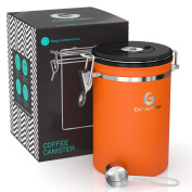 Large Coffee Canister | 1890ml | Co2 Release Valve Keeps Coffee Delicious for Longer | Free Stainless Steel Scoop & eBook | Premium Quality Coffee Gator Container | Orange