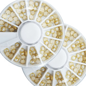 Beauties Factory 2 Wheels x 60pcs Cream White Pearl with Gold Metal Edge 4mm Flat Back