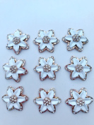 New style of alloy rhinestone crystal white / silver flower shape crystal 23 23mm for clothes shoes phone case 10 pcs / lot