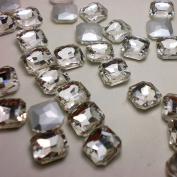 Square Octagon Rhinestones Crystal Clear Loose Beads Point back Nail Art Glass Chatons Strass ASLOVE (23mm