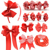 PrettyBoutique Set of 10 Girls Hair Accessories School Set - Bobbles Clips and Headbands