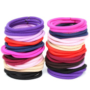 H & S 100 Elastic Hair Bands 4mm Hair Ties Bobbles Elastics Hairbands Ponytail Holders No Metal 10 Colours Colourful Accessories for Women Girls Kids Men Thick Hair Black Brown Pink Purple Blue Red Multicolour