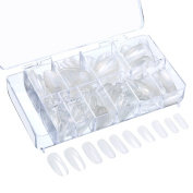 Mudder 500 Pieces Oval Fake Nail Tips Full Cover Acrylic False Nails 10 Sizes with Clear Box for Nail Salons and DIY Nail Art, Clear