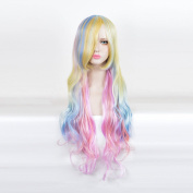 SiYi Long Wavy Gradient Wig with Bangs Synthetic Anime Cosplay Wig for Women
